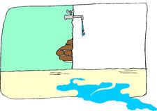 vieille eau du robinet de égouttement Photo libre de droits
