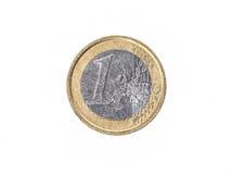 Vieille employée et porté 1 euro ¬ de 'd'â de pièce de monnaie Photo libre de droits