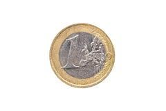 Vieille employée et porté 1 euro pièce de monnaie Photo stock