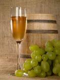 Vieille encore-durée de vin avec du raisin Photos stock