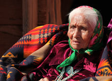Vieille femme de Natif américain Images libres de droits