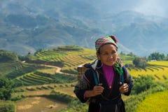 Vieille femme non identifiée de Hmong avec le fond de terrasse de gisement de riz photos libres de droits
