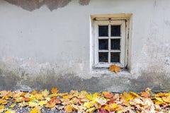 Vieille fenêtre à l'automne Image libre de droits