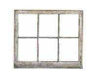 Vieille fenêtre en bois de cadre d'isolement. Photo libre de droits