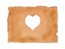 Vieille feuille de papier avec le symbole de coeur pour le fond Photos libres de droits