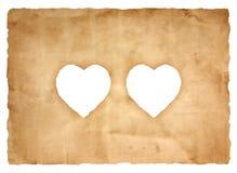 Vieille feuille de papier avec le symbole de coeur pour le fond Photo stock