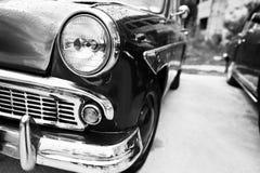 Vieille fin de phare de voiture de vintage  Pékin, photo noire et blanche de la Chine Photo stock