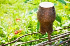 Vieille fin de pot d'argile à la barrière d'acacia Photo stock
