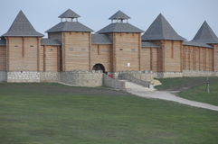 Vieille forteresse en bois russe Image stock