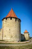 Vieille forteresse sur la rivière le Dniestr dans la cintreuse de ville, le Transnistrie Ville dans les frontières de Moldau dess image libre de droits