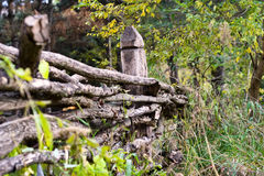 Vieille frontière de sécurité en bois Photos libres de droits