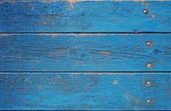 Vieille frontière de sécurité en bois fond en bois bleu de palissade Texture de planches Photo stock