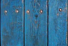 Vieille frontière de sécurité en bois fond en bois bleu de palissade Texture de planches Image stock