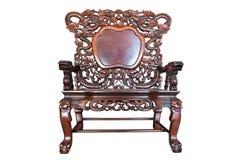 Vieille grande chaise chinoise polie en bois Photographie stock