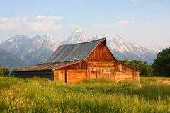 Vieille grange mormone, stationnement national de tetons Images libres de droits