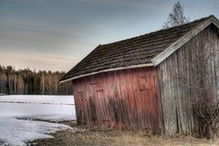 Vieille grange rouge Image libre de droits