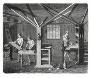 Vieille gravure d'antiquité d'atelier d'impression Image libre de droits