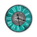 Vieille horloge bleu-clair d'isolement de vintage Images stock