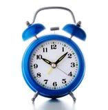 Vieille horloge d'alarme bleue Photographie stock libre de droits