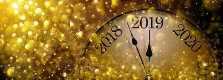 Vieille horloge de la nouvelle année s Ève 2019 illustration stock