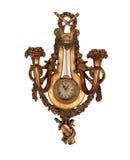 Vieille horloge de mur de cru d'isolement avec le chemin de découpage Photographie stock