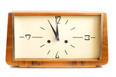Vieille horloge en bois Photo stock