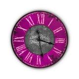 Vieille horloge rose d'isolement de vintage Photo libre de droits