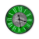 Vieille horloge verte d'isolement de vintage Photo stock