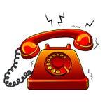 Vieille illustration d'un rouge ardent de vecteur d'art de bruit de téléphone Photographie stock libre de droits