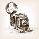 Vieille illustration de vecteur de style de croquis d'appareil-photo de photo Images libres de droits