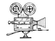 Vieille illustration de vecteur de gravure d'appareil-photo de film Images stock