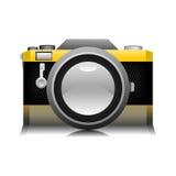 Vieille illustration jaune de photo d'appareil-photo Photos stock