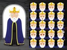 Vieille illustration médiévale de vecteur du Roi Cartoon Emotion Faces illustration stock