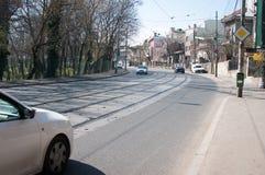 Vieille infrastructure de tram de Bucarest Images libres de droits