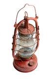 Vieille lampe de kérosène d'isolement sur le fond blanc Photo stock