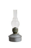 Vieille lampe de kérosène d'isolement sur le fond blanc Photos stock