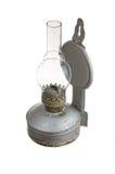 Vieille lampe de kérosène d'isolement sur le fond blanc Photographie stock libre de droits
