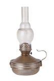 Vieille lampe de kérosène sale d'isolement sur le fond blanc Photo stock