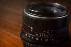 Vieille lentille manuelle de foyer Photographie stock