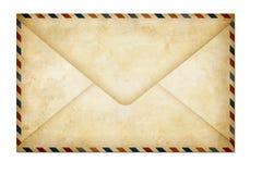 Vieille lettre de papier fermée de poteau d'air d'isolement Photographie stock