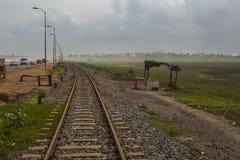 Vieille ligne de rail au Ghana, Afrique de l'ouest Photographie stock libre de droits