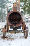 Vieille locomotive à vapeur dans le musée ferroviaire russe Images stock
