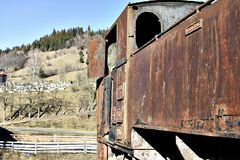 Vieille locomotive à vapeur rouillée Images stock