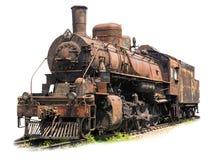 Vieille locomotive à vapeur rouillée sur le fond blanc photos libres de droits