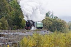 Vieille locomotive de train de vapeur passant au-dessus du viaduc dans les montagnes Images stock