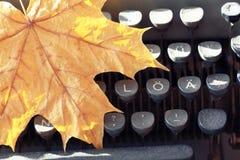 Vieille machine à écrire avec la feuille d'érable jaune Photos libres de droits