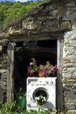 Vieille machine à laver utilisée comme planteur Photo libre de droits