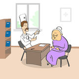 Vieille Madame Visiting Doctor Sitting dans le bureau médical Illustration Stock