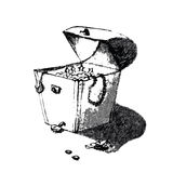 Vieille main de coffre au trésor de pirate dessinant le croquis artistique de crayon Illustration dans le style drôle de griffonn Images libres de droits