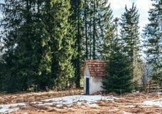 Vieille maison abandonnée au milieu des maisons pittoresques de village de forêt dans les montagnes carpathiennes Photo stock